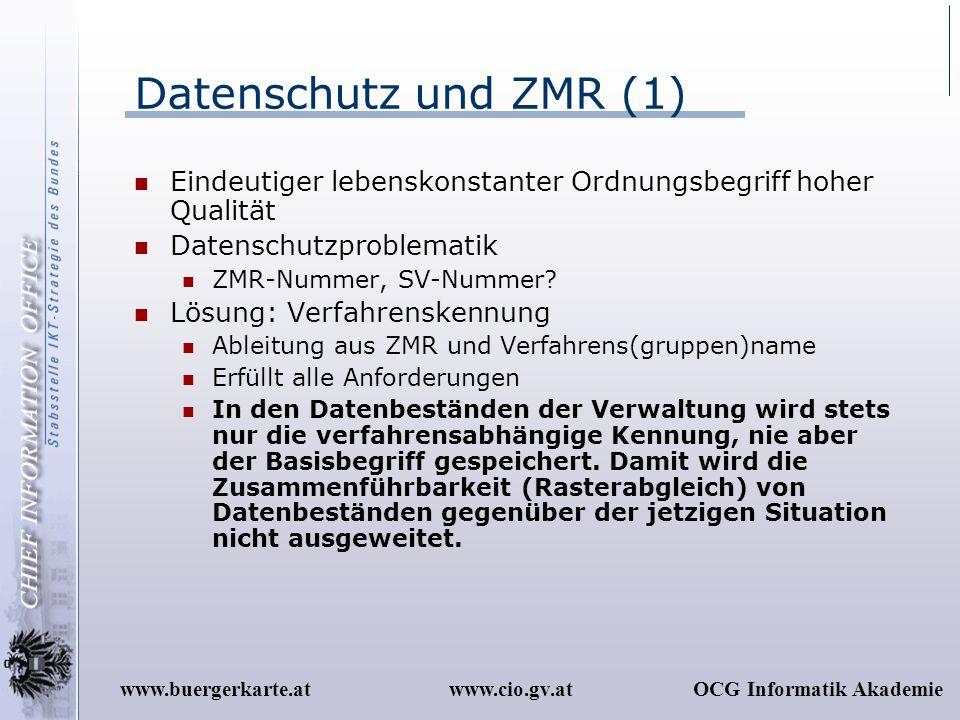 Datenschutz und ZMR (1) Eindeutiger lebenskonstanter Ordnungsbegriff hoher Qualität. Datenschutzproblematik.