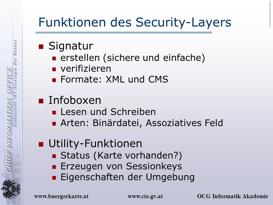 Funktionen des Security-Layers