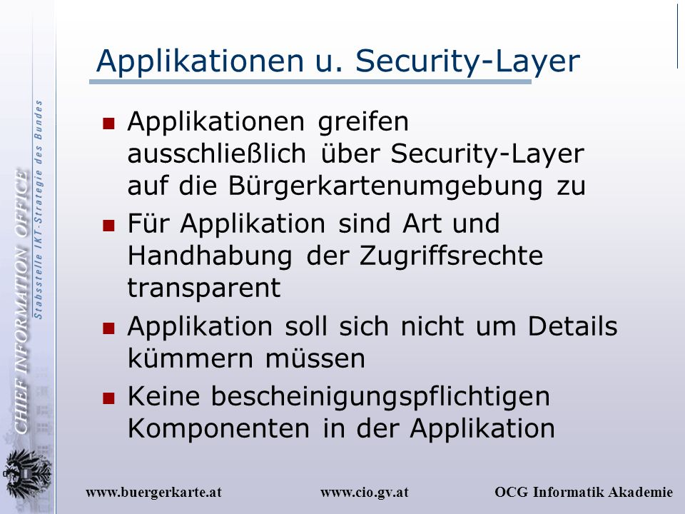 Applikationen u. Security-Layer