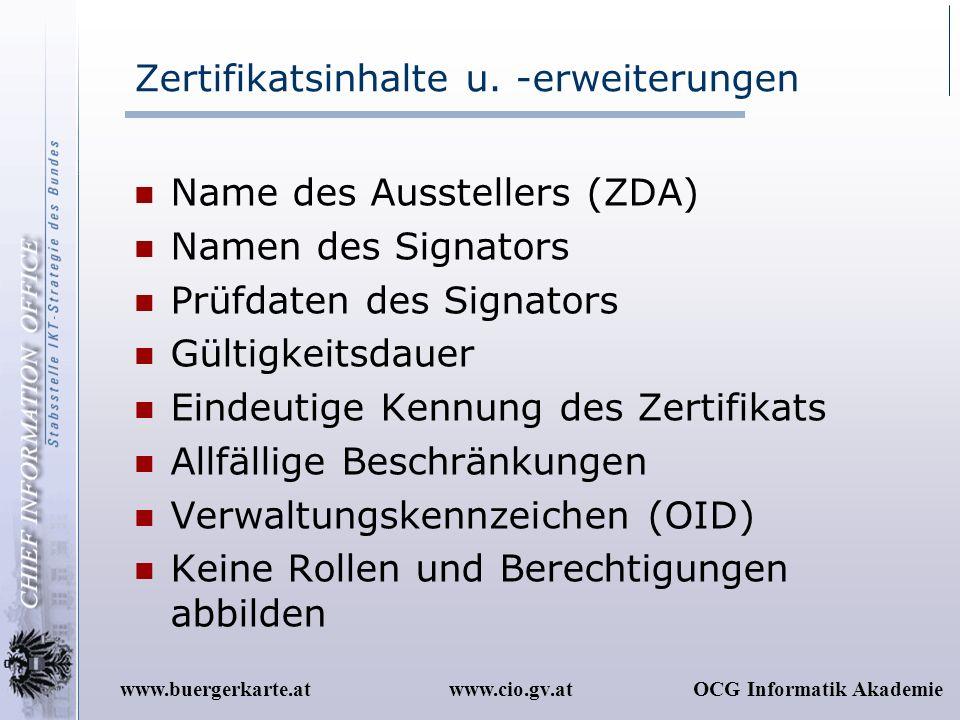 Zertifikatsinhalte u. -erweiterungen