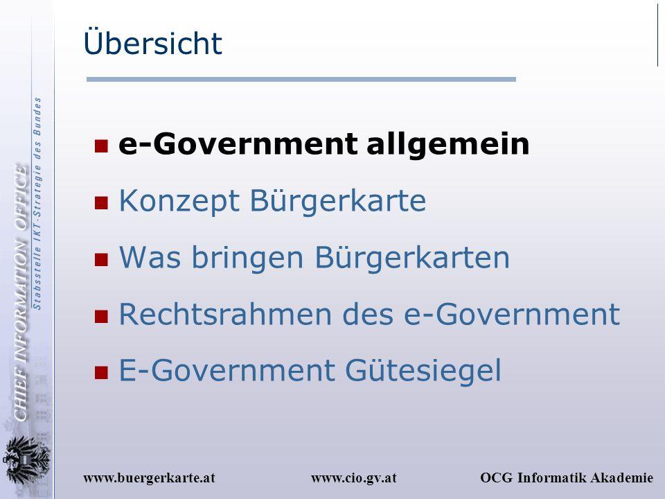 Übersicht e-Government allgemein. Konzept Bürgerkarte. Was bringen Bürgerkarten. Rechtsrahmen des e-Government.