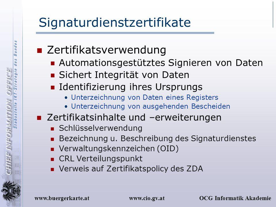 Signaturdienstzertifikate
