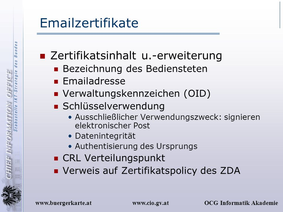 Emailzertifikate Zertifikatsinhalt u.-erweiterung