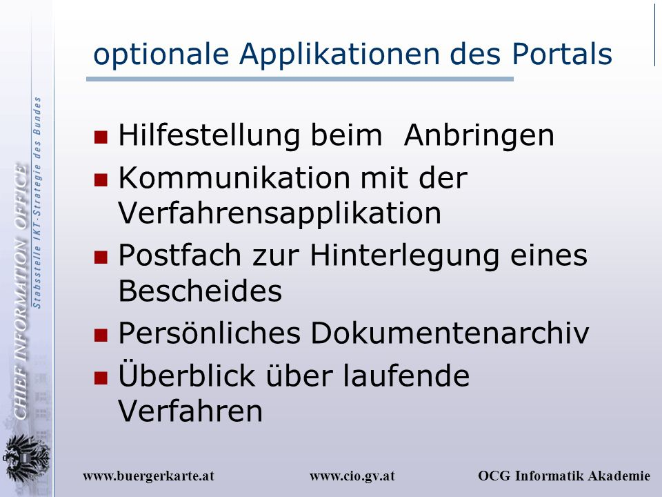 optionale Applikationen des Portals