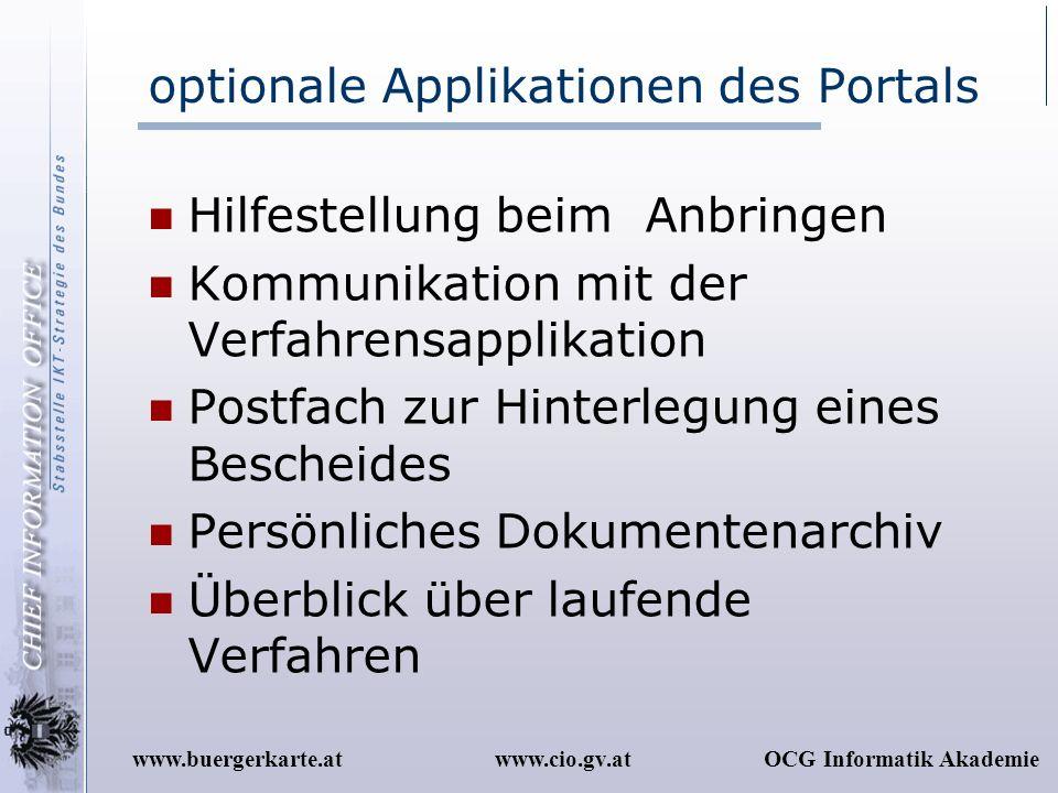 optionale Applikationen des Portals