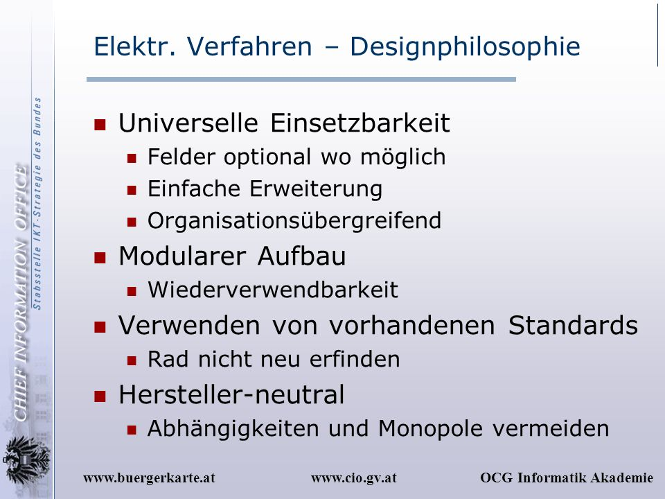 Elektr. Verfahren – Designphilosophie
