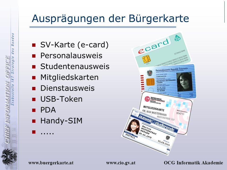 Ausprägungen der Bürgerkarte
