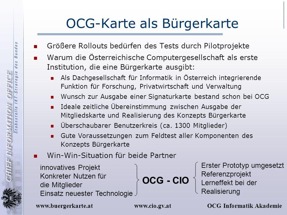OCG-Karte als Bürgerkarte