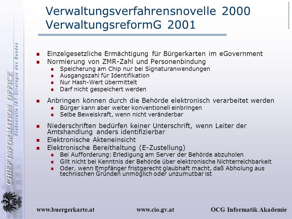 Verwaltungsverfahrensnovelle 2000 VerwaltungsreformG 2001