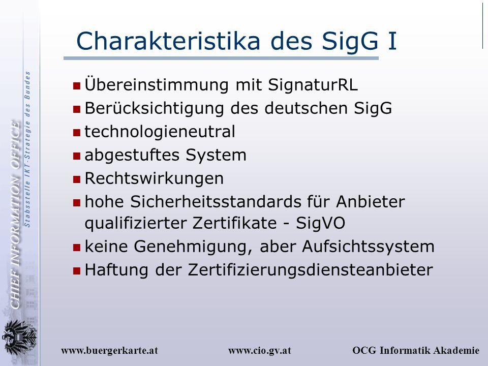 Charakteristika des SigG I