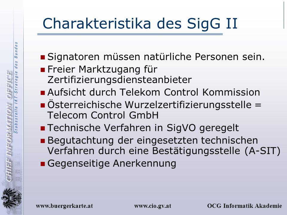 Charakteristika des SigG II