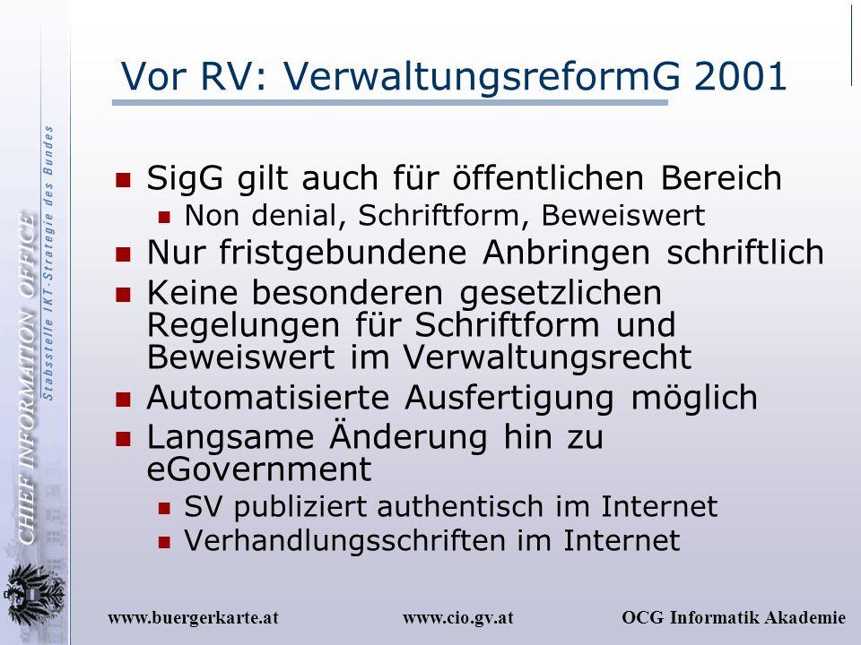 Vor RV: VerwaltungsreformG 2001
