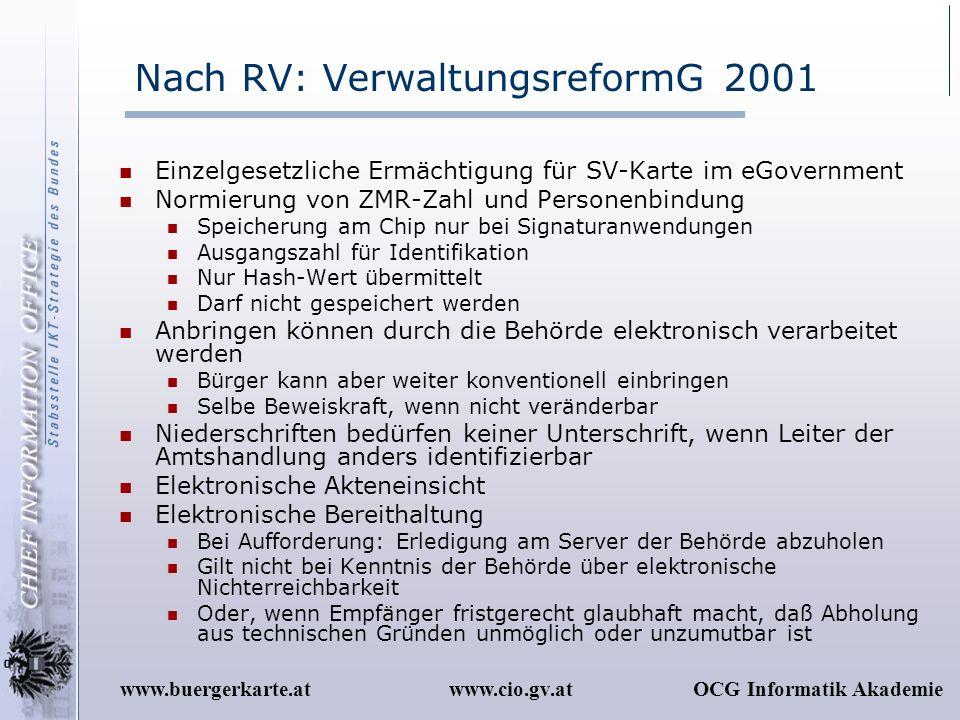 Nach RV: VerwaltungsreformG 2001