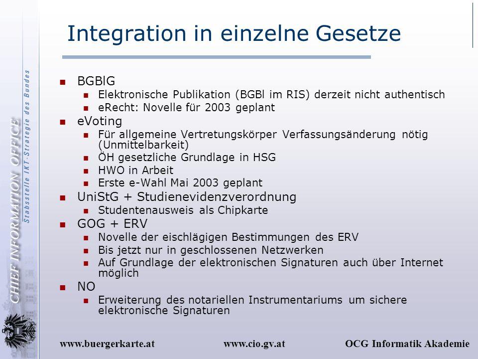 Integration in einzelne Gesetze