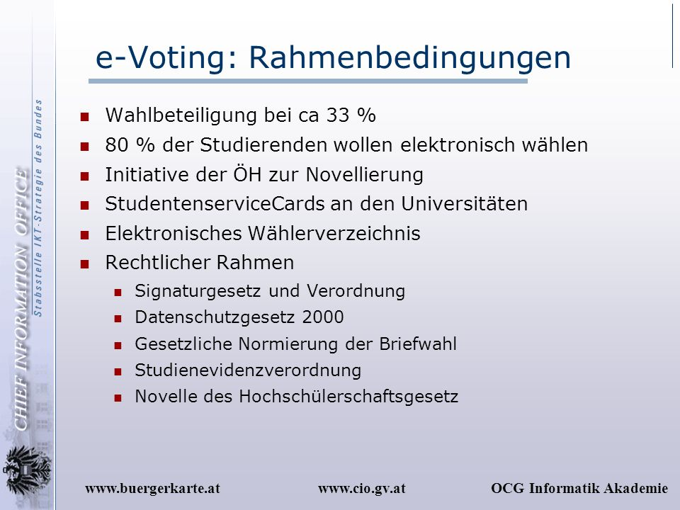 e-Voting: Rahmenbedingungen