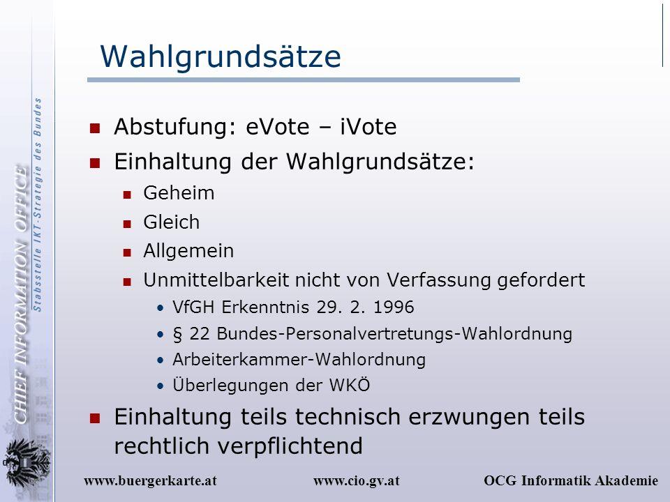Wahlgrundsätze Abstufung: eVote – iVote Einhaltung der Wahlgrundsätze: