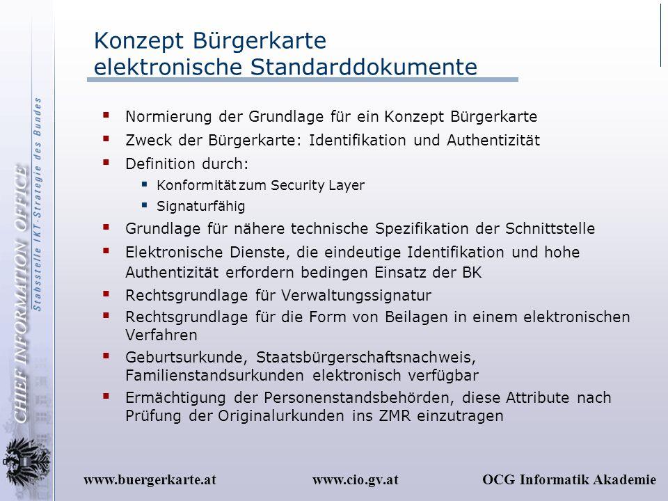 Konzept Bürgerkarte elektronische Standarddokumente