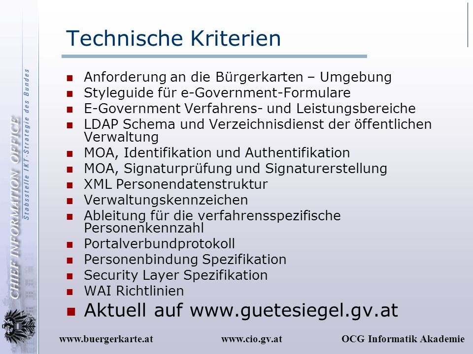 Technische Kriterien Aktuell auf www.guetesiegel.gv.at