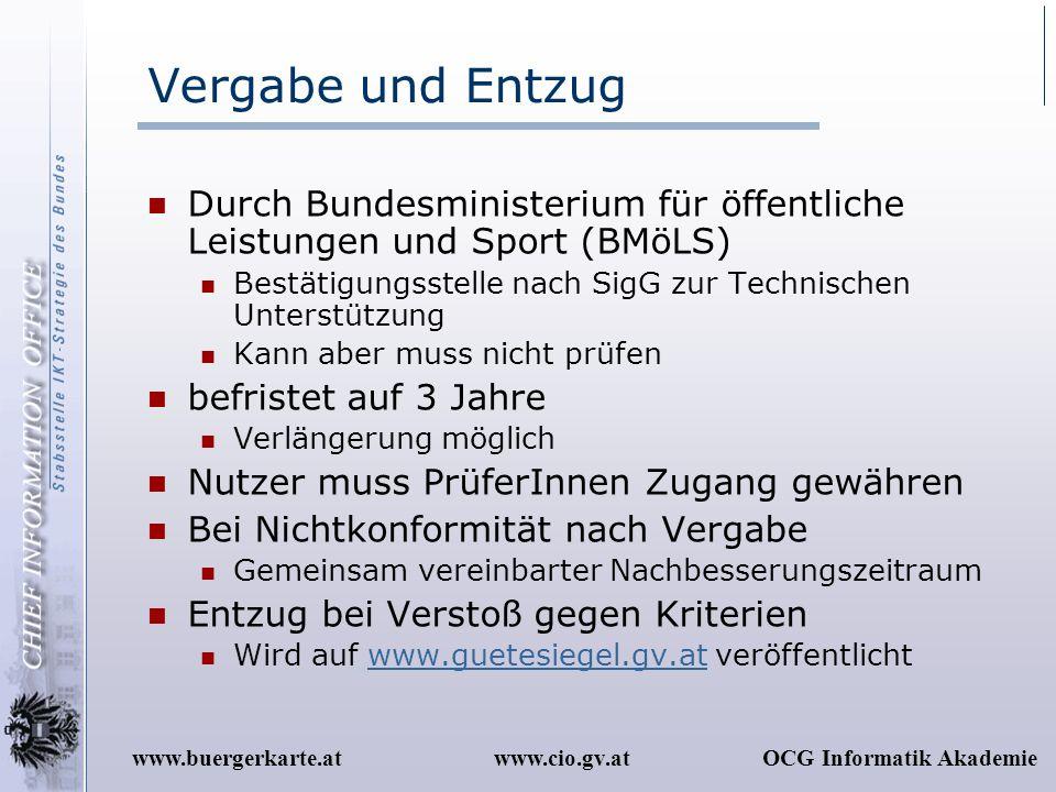 Vergabe und Entzug Durch Bundesministerium für öffentliche Leistungen und Sport (BMöLS) Bestätigungsstelle nach SigG zur Technischen Unterstützung.