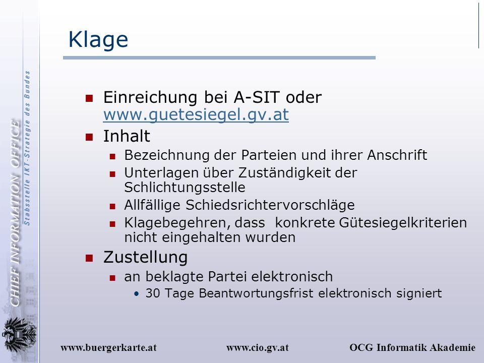 Klage Einreichung bei A-SIT oder www.guetesiegel.gv.at Inhalt