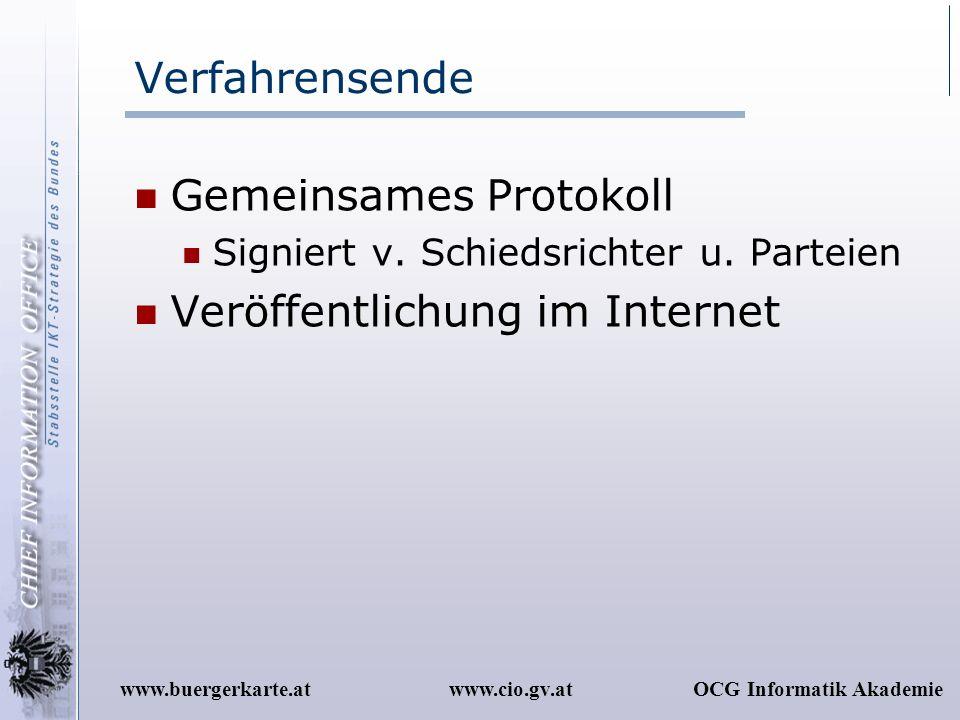 Gemeinsames Protokoll Veröffentlichung im Internet