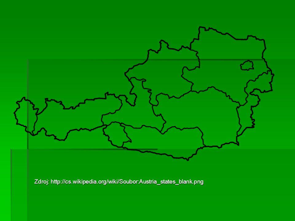 Zdroj: http://cs.wikipedia.org/wiki/Soubor:Austria_states_blank.png