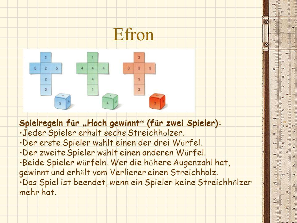 """Efron Spielregeln für """"Hoch gewinnt (für zwei Spieler):"""