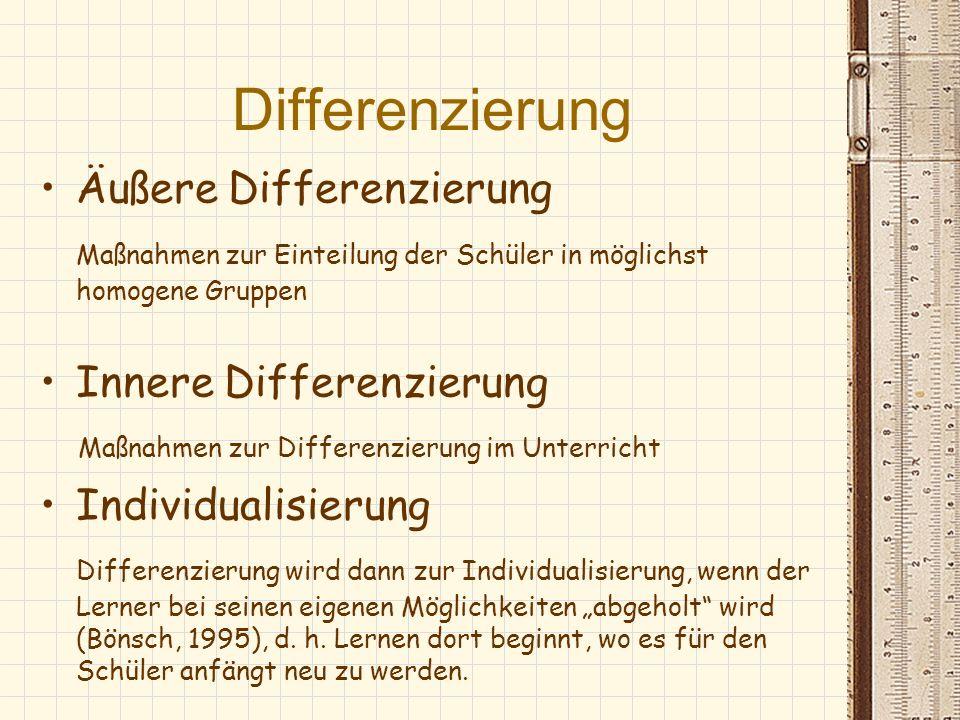 Differenzierung Äußere Differenzierung