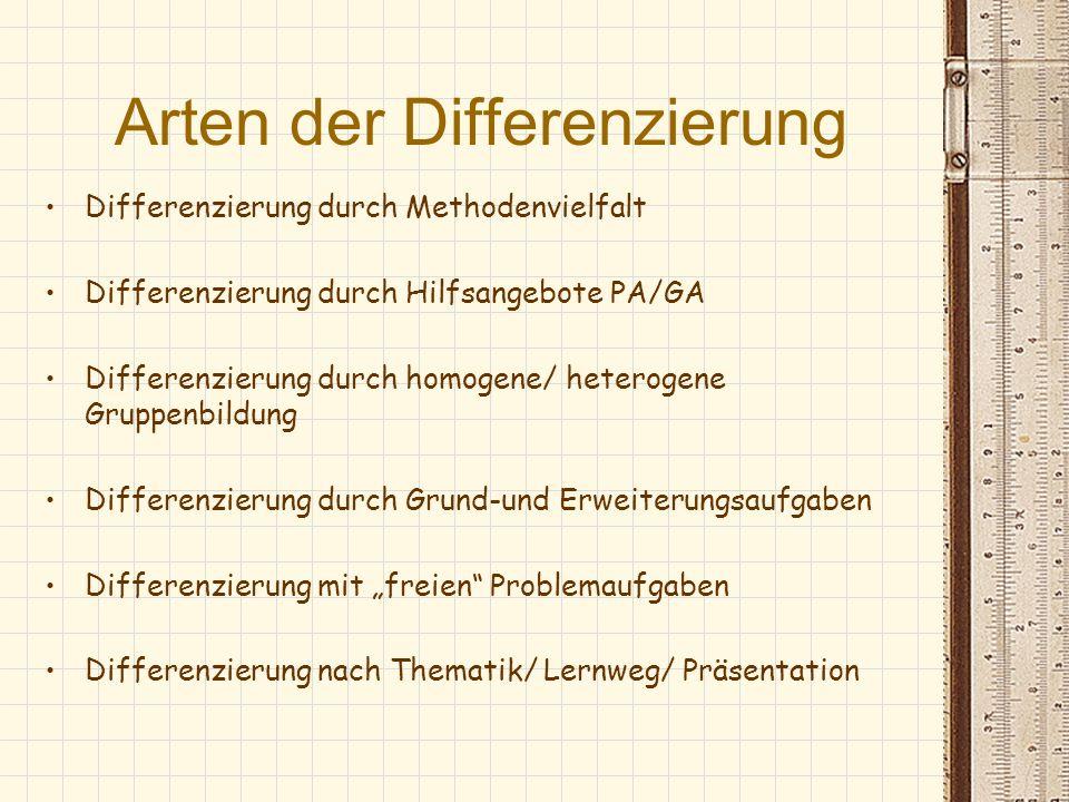 Arten der Differenzierung