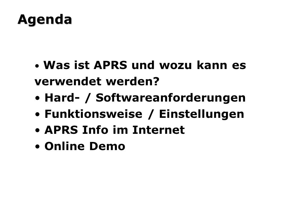 Agenda Hard- / Softwareanforderungen Funktionsweise / Einstellungen