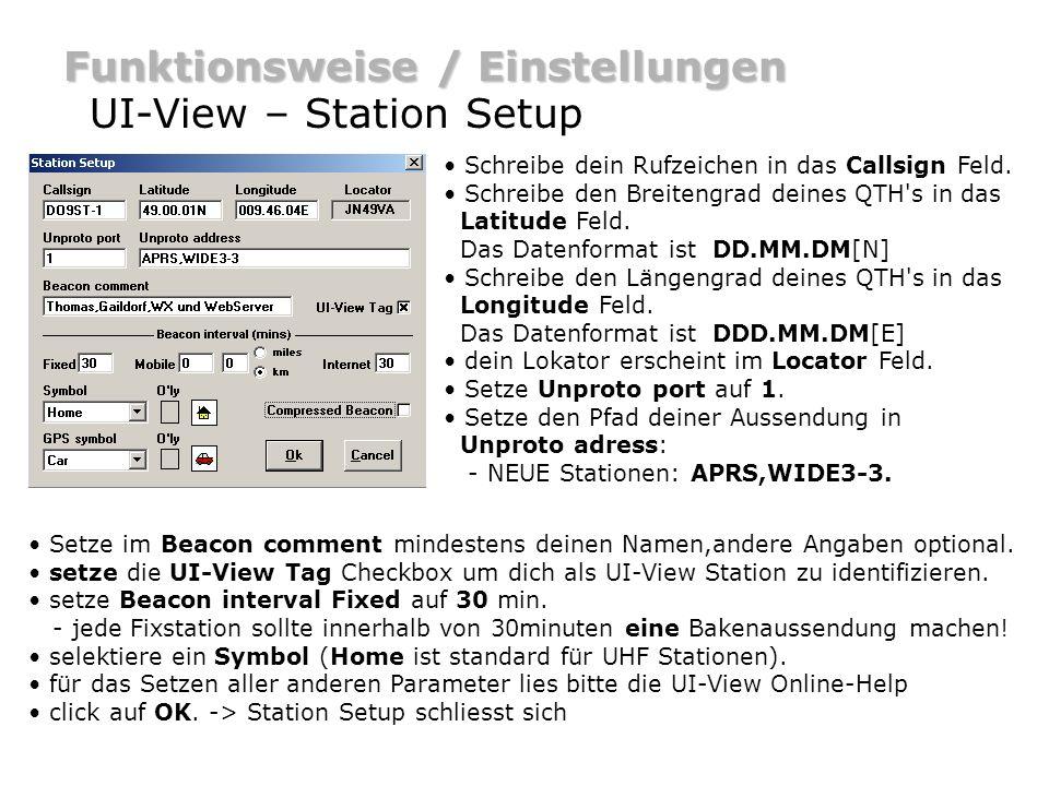 Funktionsweise / Einstellungen UI-View – Station Setup