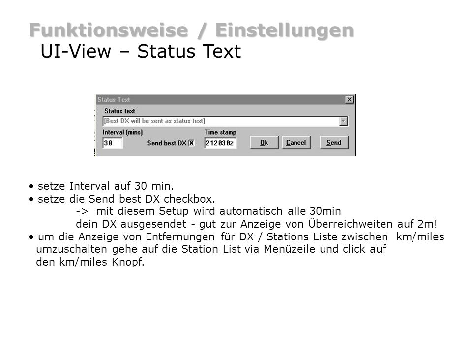 Funktionsweise / Einstellungen UI-View – Status Text