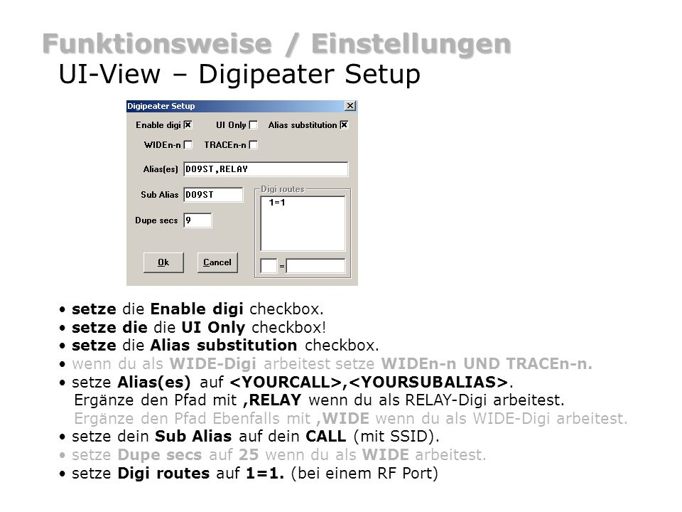 Funktionsweise / Einstellungen UI-View – Digipeater Setup
