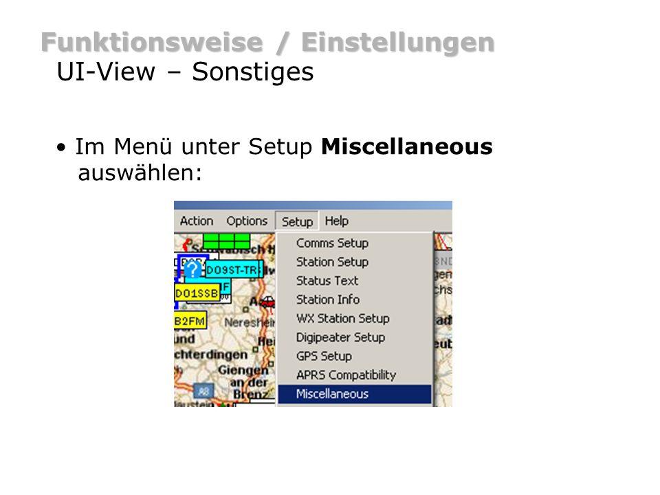 Funktionsweise / Einstellungen UI-View – Sonstiges