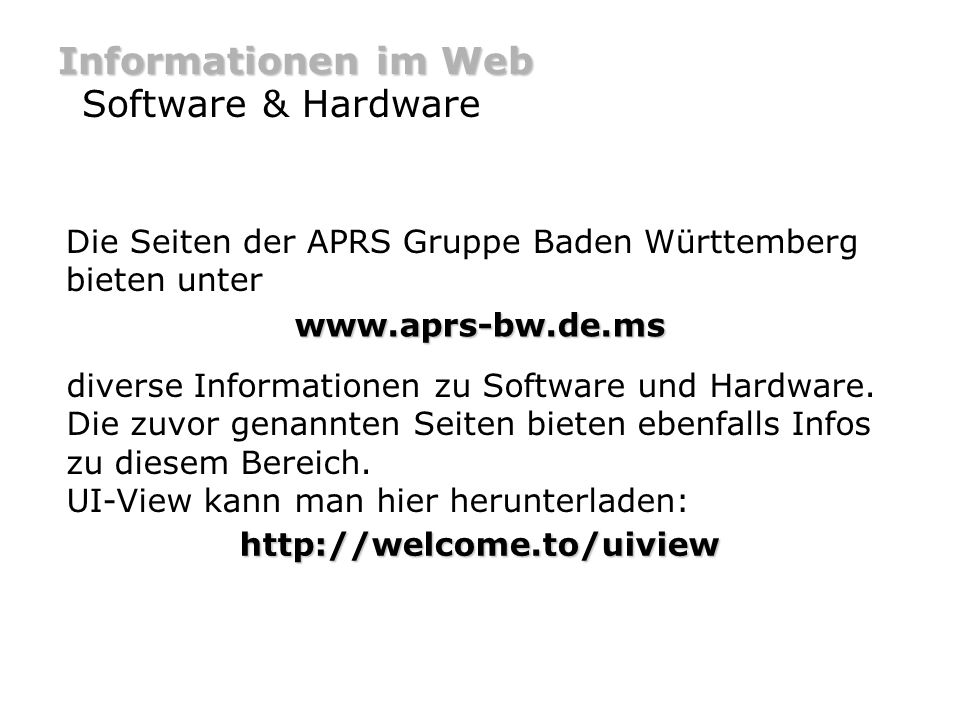 Informationen im Web Software & Hardware
