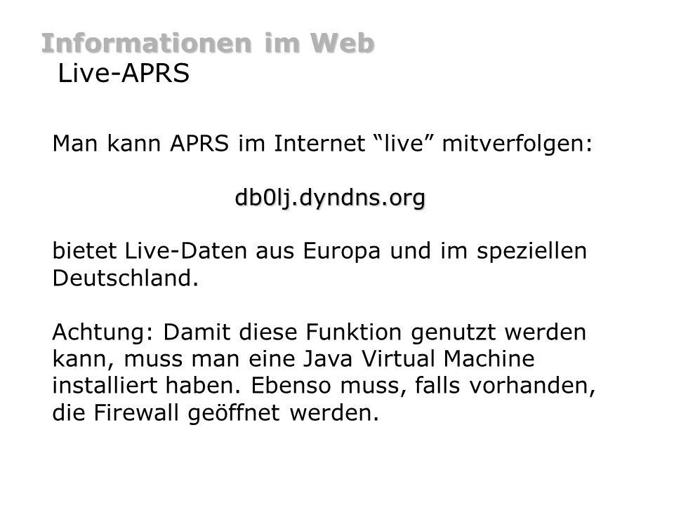 Informationen im Web Live-APRS