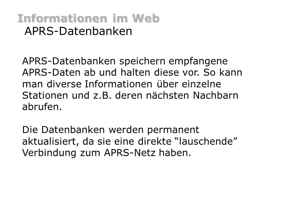 Informationen im Web APRS-Datenbanken
