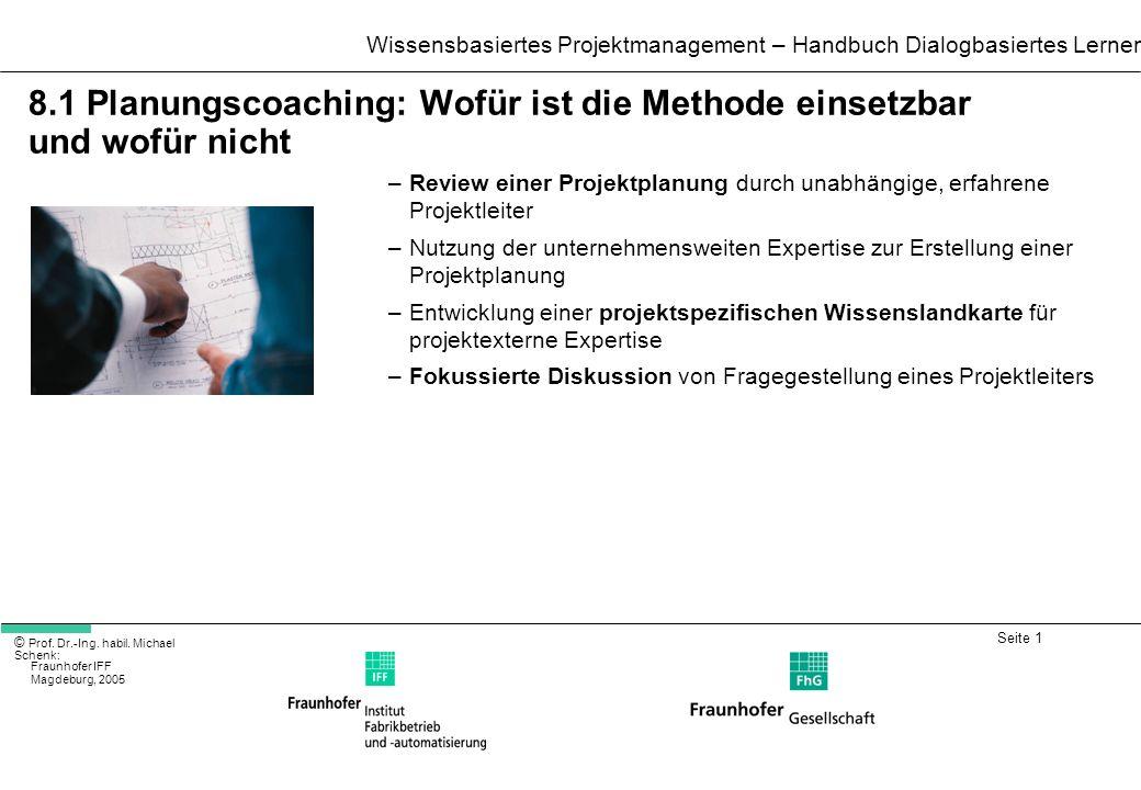8.1 Planungscoaching: Wofür ist die Methode einsetzbar und wofür nicht