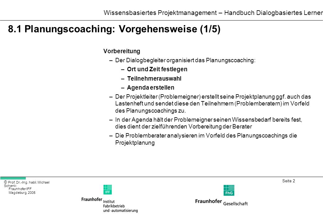 8.1 Planungscoaching: Vorgehensweise (1/5)