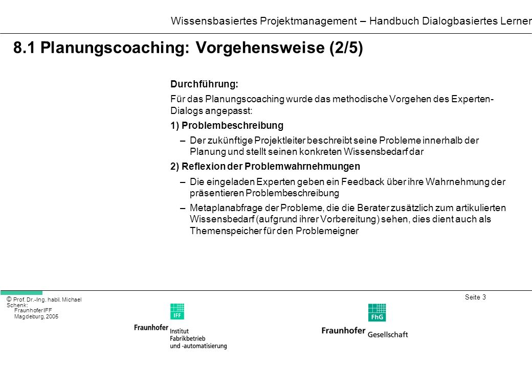 8.1 Planungscoaching: Vorgehensweise (2/5)