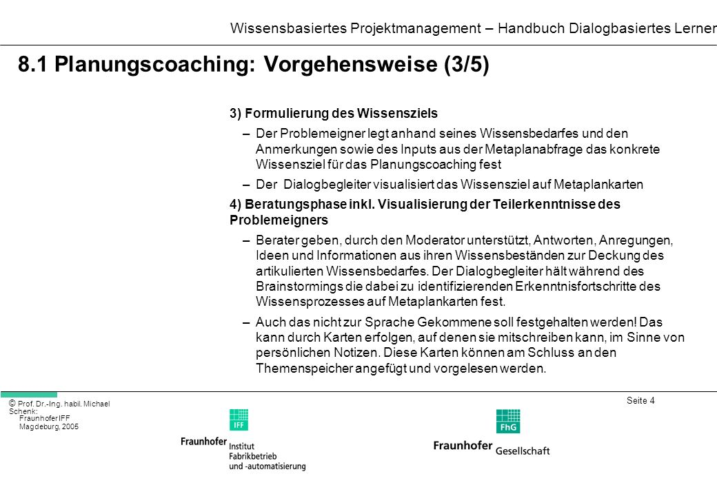 8.1 Planungscoaching: Vorgehensweise (3/5)