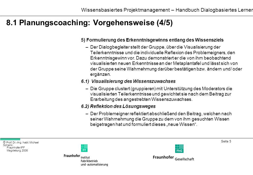 8.1 Planungscoaching: Vorgehensweise (4/5)