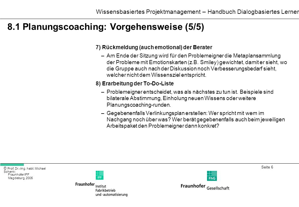8.1 Planungscoaching: Vorgehensweise (5/5)
