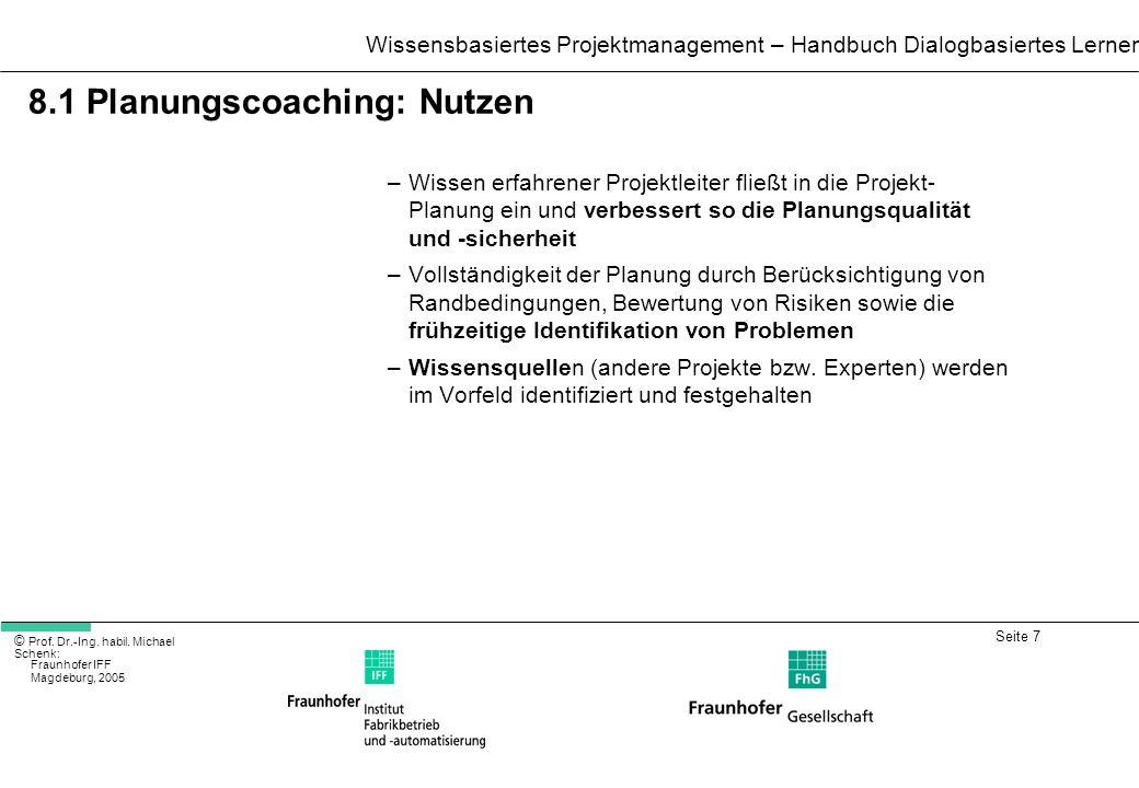 8.1 Planungscoaching: Nutzen