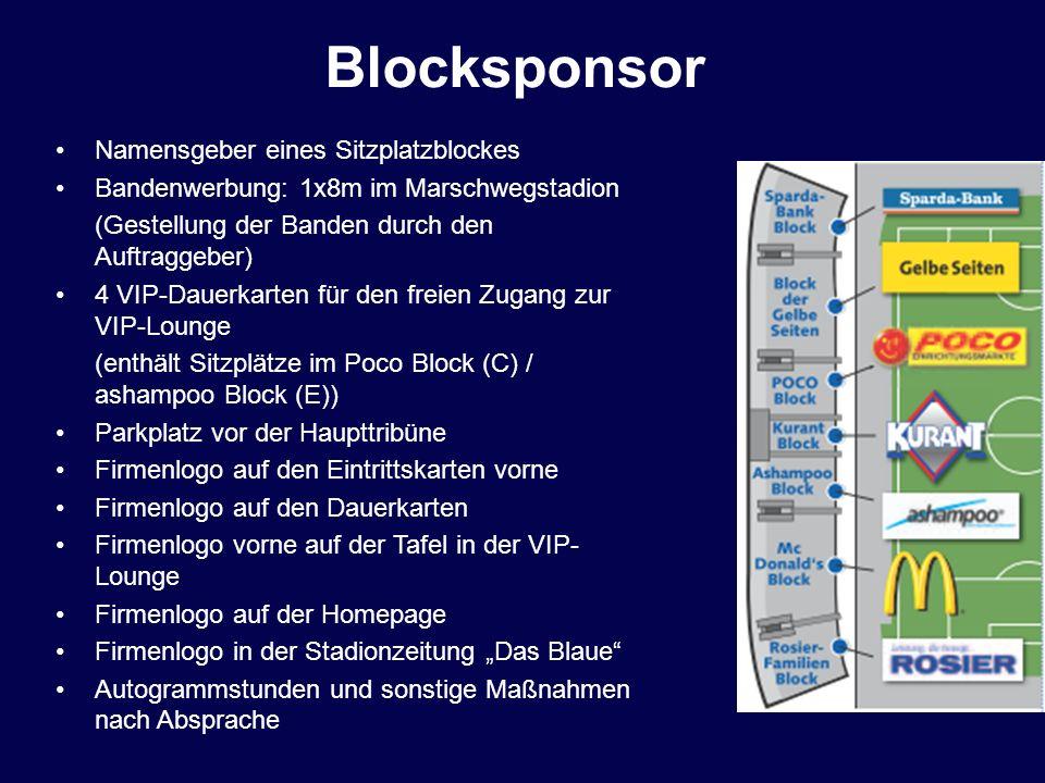 Blocksponsor Namensgeber eines Sitzplatzblockes