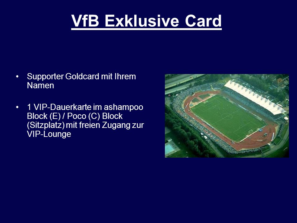 VfB Exklusive Card Supporter Goldcard mit Ihrem Namen