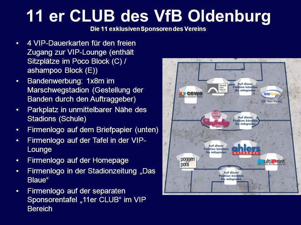 11 er CLUB des VfB Oldenburg Die 11 exklusiven Sponsoren des Vereins
