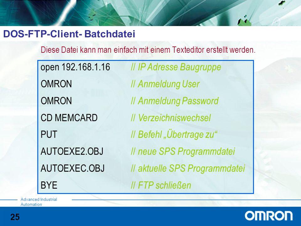 DOS-FTP-Client- Batchdatei