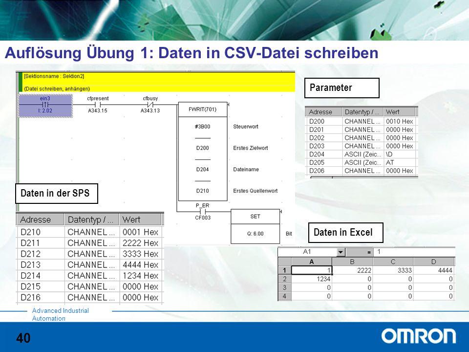 Auflösung Übung 1: Daten in CSV-Datei schreiben