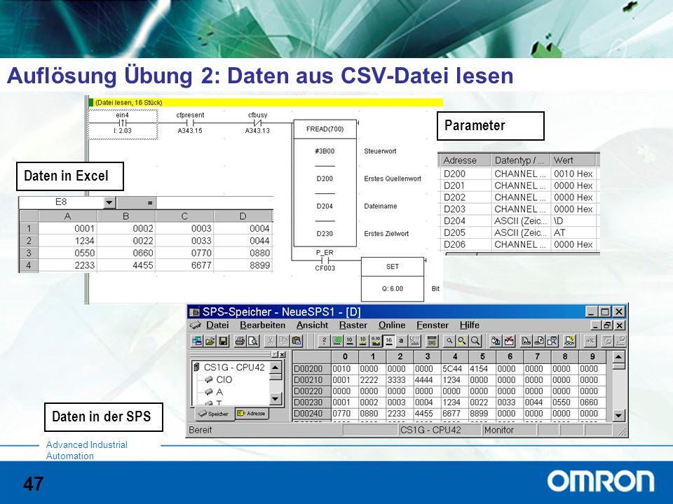Auflösung Übung 2: Daten aus CSV-Datei lesen